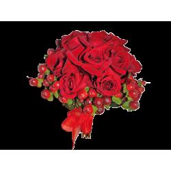 Bouquet de Rosas e Hipericum